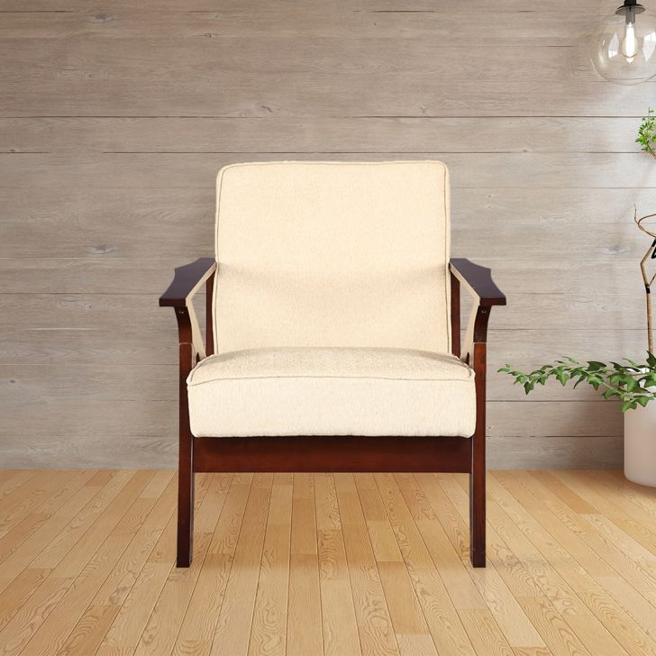 Patrick Solid Wood Single Seater Sofa With Cushion in Beige Colour by HomeTown
