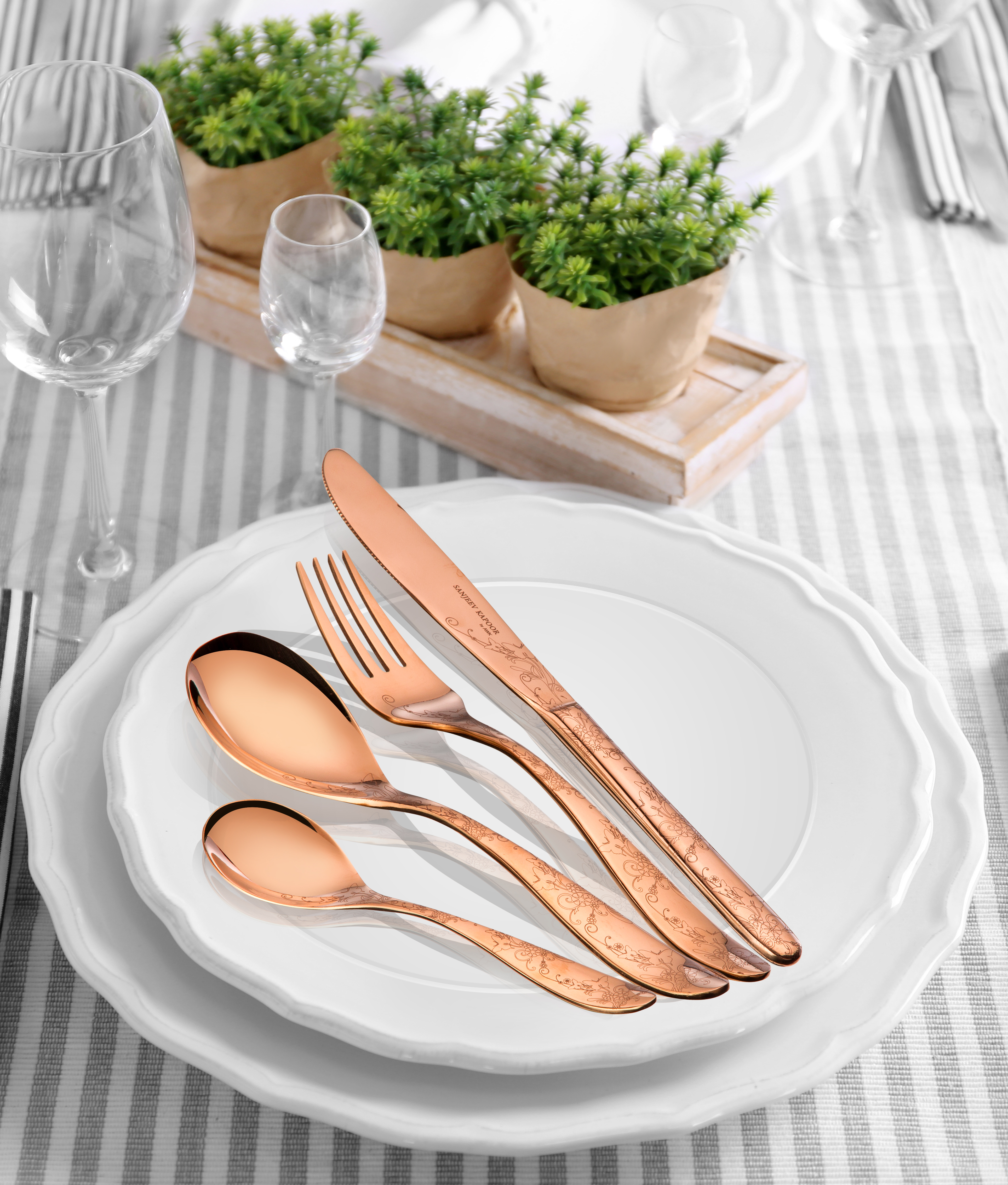 Cutleryset 24Pc set Rose Gold Titanium finish With Baby Spoon Stainless steel Cutlery Sets in Rose Gold Colour by Sanjeev Kapoor