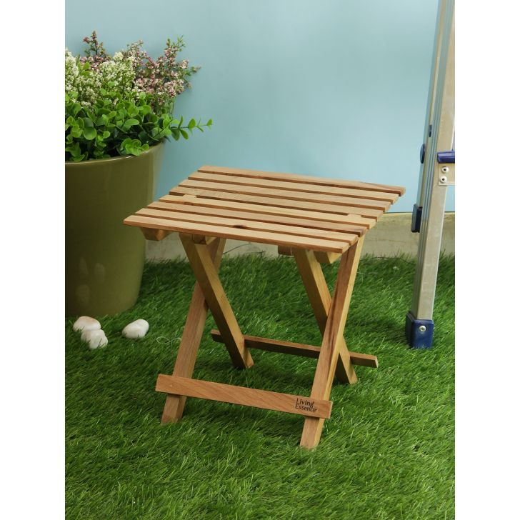 Wood Tea Stand in Brown Colour by Living Essence
