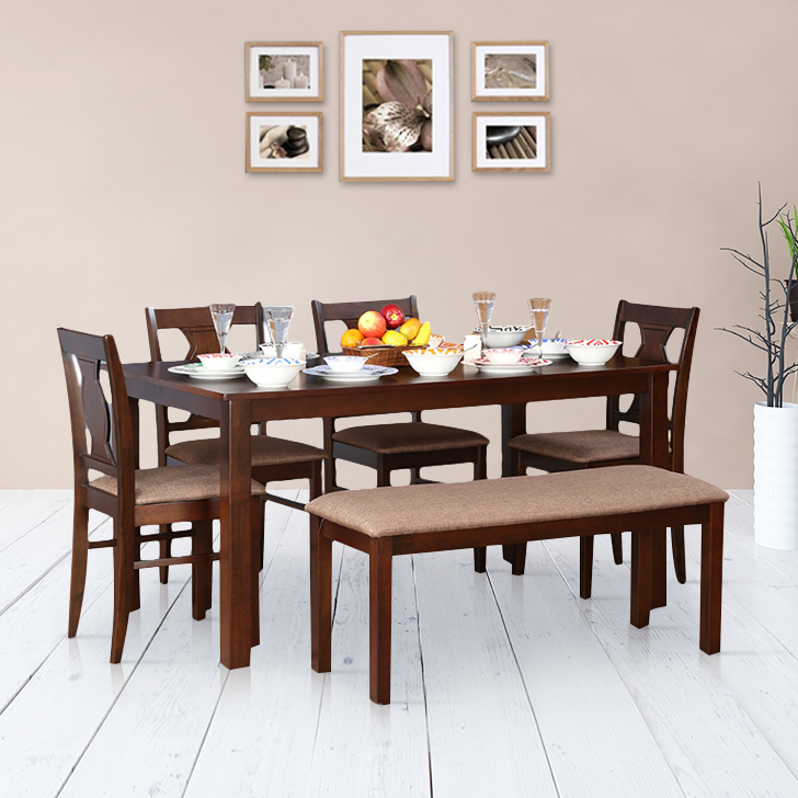 Artois Solid Wood Six Seater Dining Set in Antique Cherry Colour by HomeTown