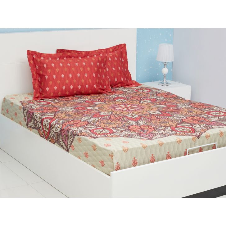Nora Cotton Double Bedsheets in Rust Colour by Living Essence