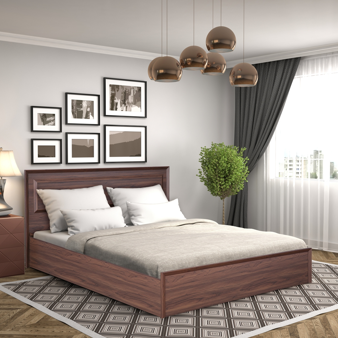 Stark Engineered Wood Box Storage King Size Bed in Walnut Colour by HomeTown