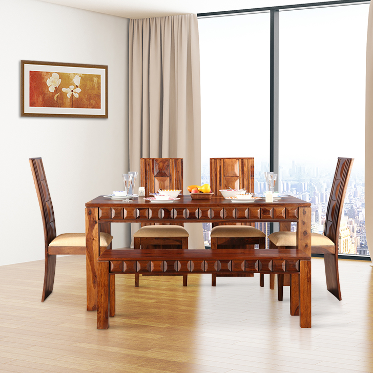 Woodrow Solid Wood Six Seater Dining Set in Honey Colour by HomeTown