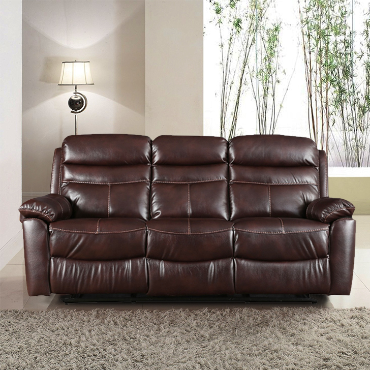 Logan Fabric Three Seater Recliner in Dark Brown Colour by HomeTown