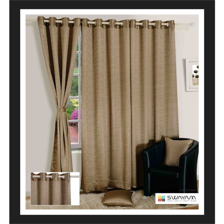 Jacquard Blackout  Window Curtain 122X152 Cm In Brown  Colour By Swayam