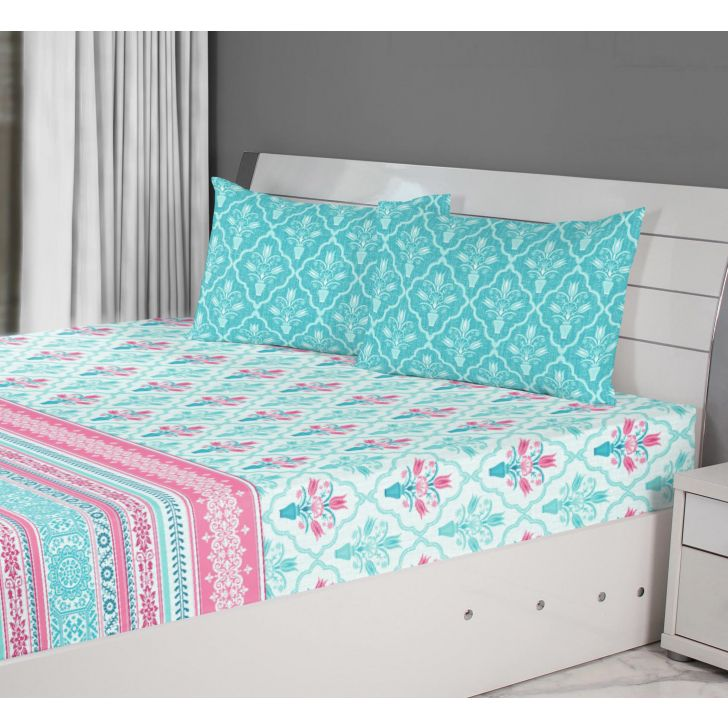 Emilia Cotton Double Bedsheets in Turquoise Colour by Living Essence