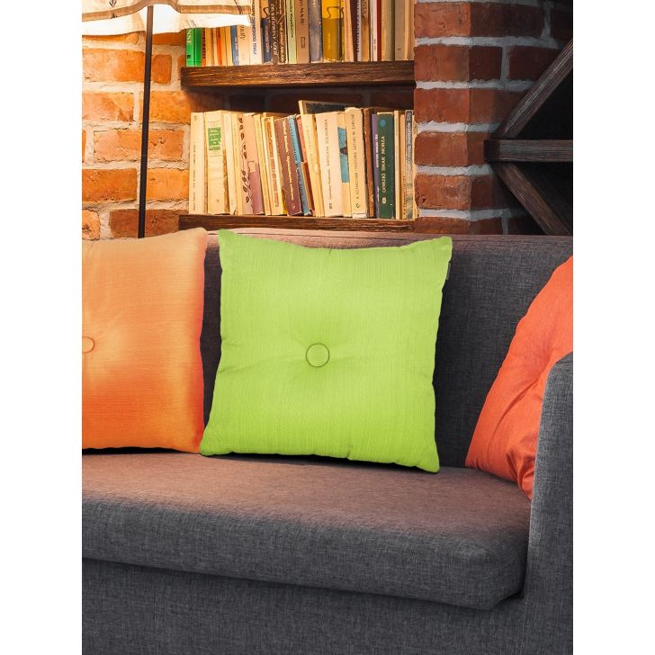 Fiesta Round Polyester Filled Cushions in Citron Colour by Living Essence