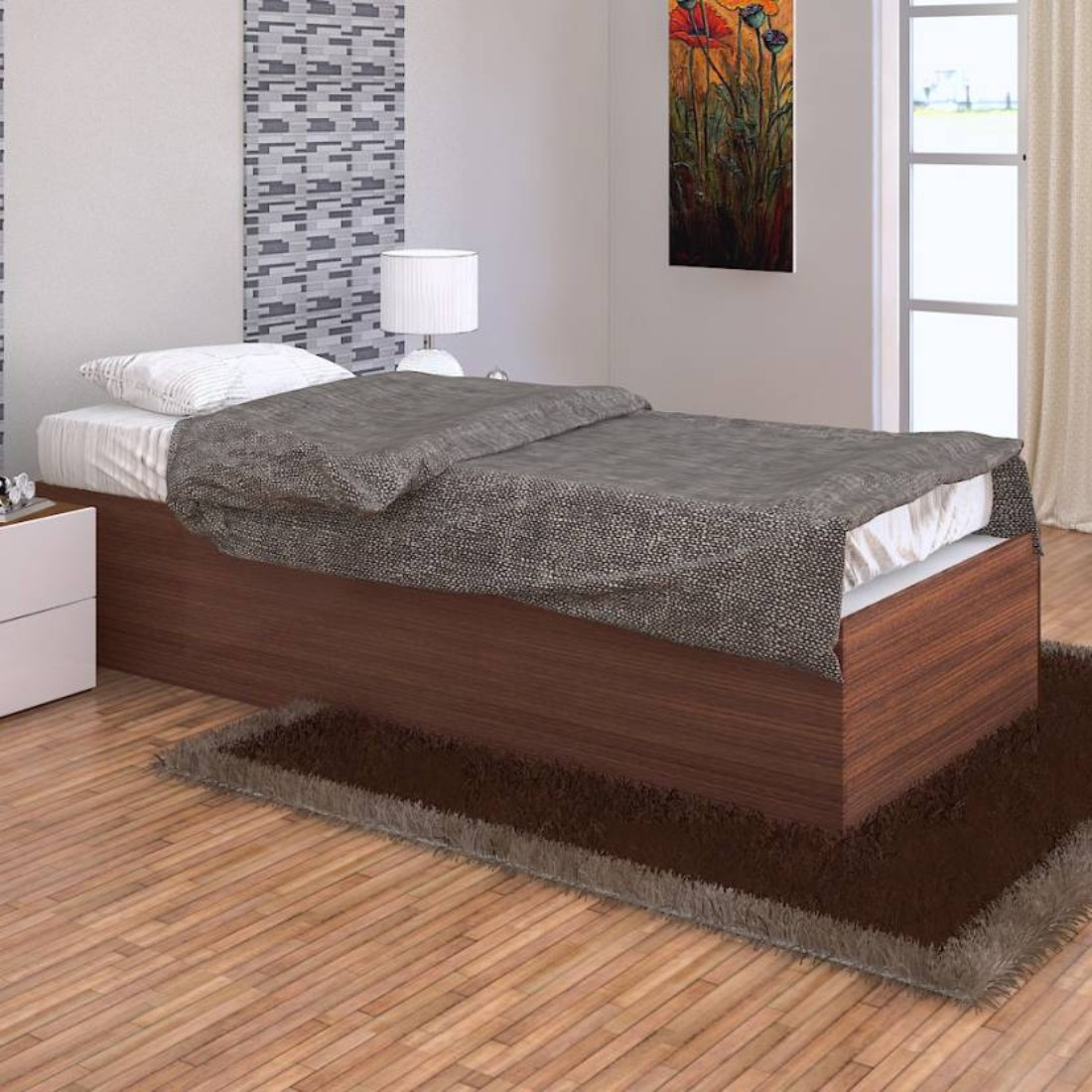 Ria Engineered Wood Box Storage Single Bed in Walnut Colour by HomeTown