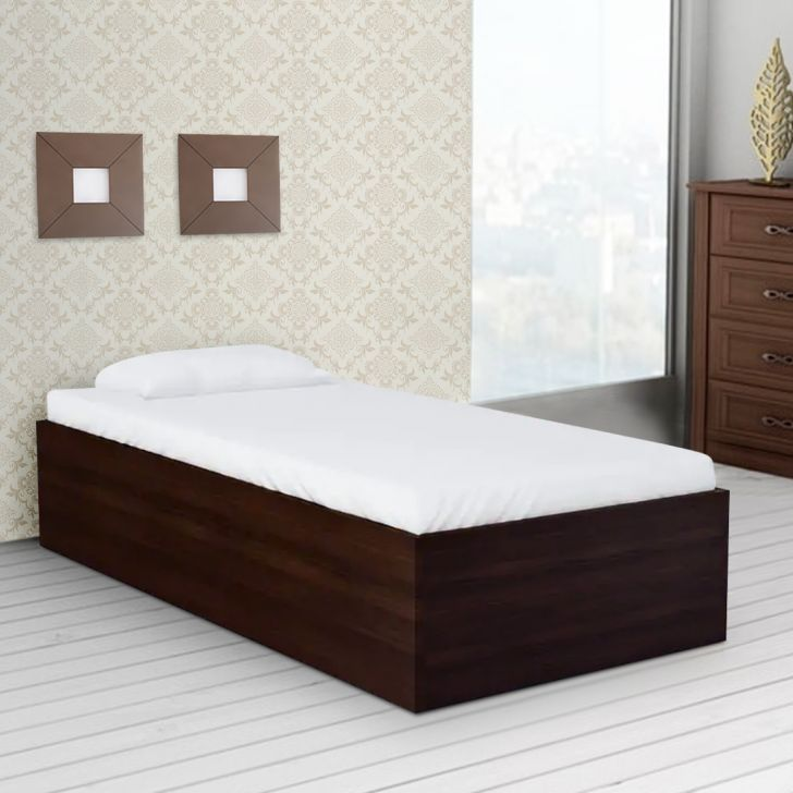 Ria Engineered Wood Box Storage Single Bed in Walnut Color by HomeTown