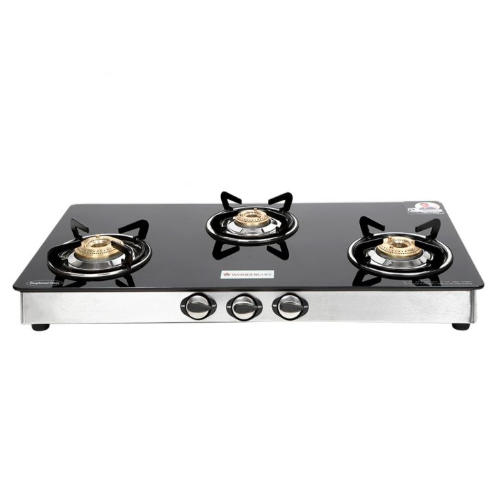 Zest 3 burner glass cooktop Glass Cooktops in Black& Steel Colour by Wonderchef