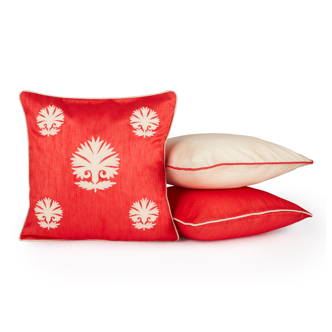 Fiesta Set Of 3 Cushion Covers Coral Polyester Cushion Cover Sets in Coral Colour by Living Essence
