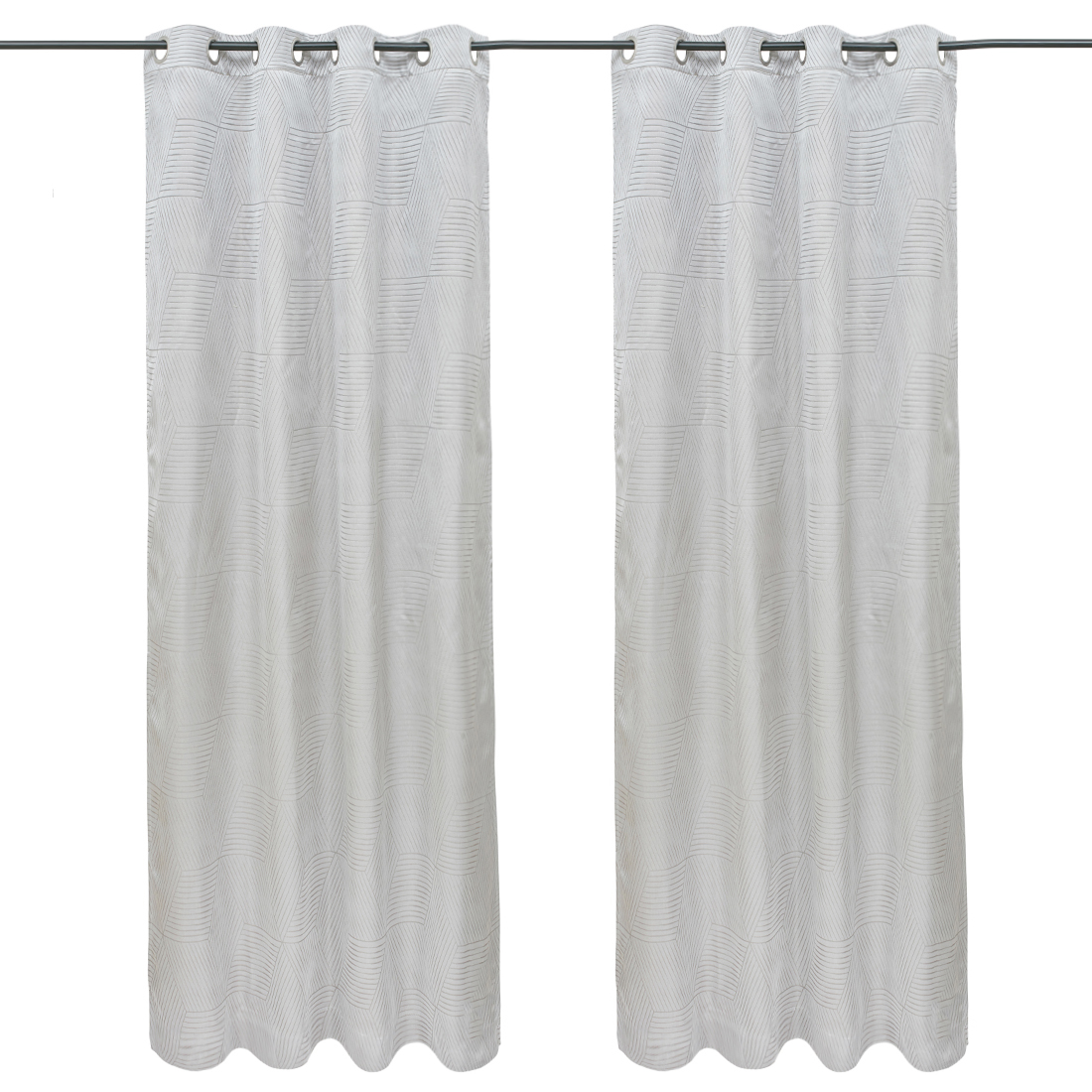 Emilia Jacquard Set of 2 Polyester Door Curtains in White Colour by Living Essence