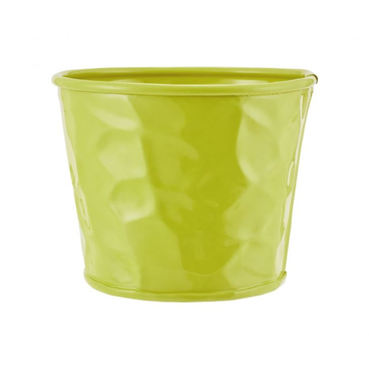 Aria Round Planter With Texture Green Metal Pots & Planters in Green Colour by Living Essence