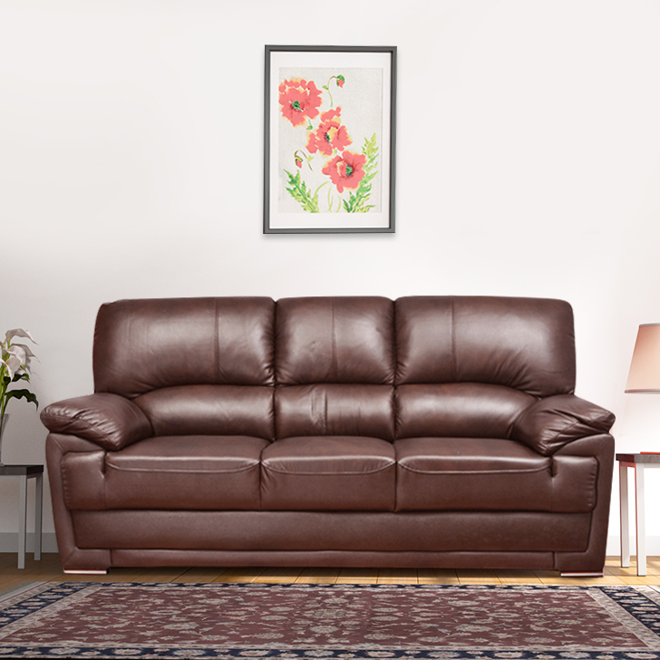 Eva Half Leather Three Seater Sofa in Brown Colour by HomeTown