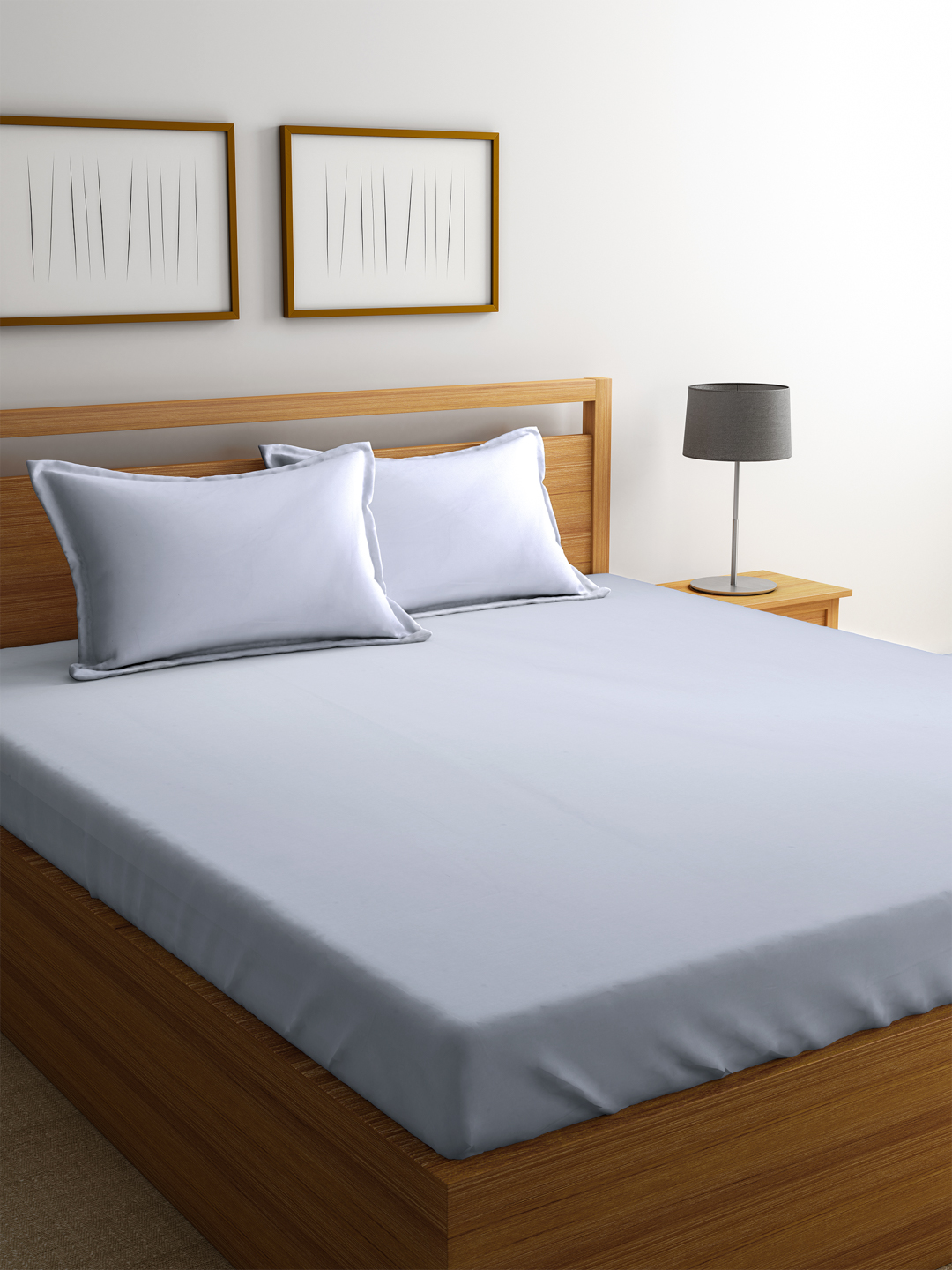 Portico Percale Cotton Double Bed Sheets in White Colour by Portico
