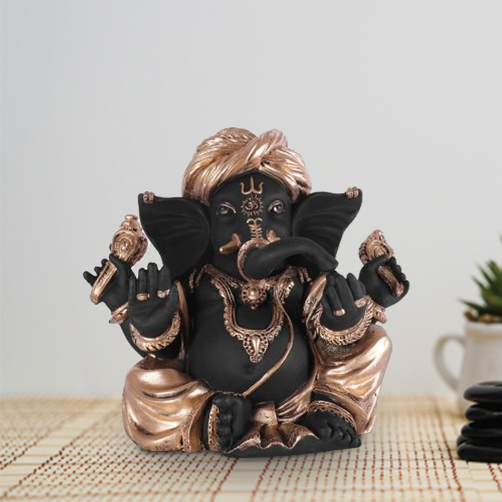 Fio Ganesha Large Polyresin Idols in Black-Gold Colour by Living Essence