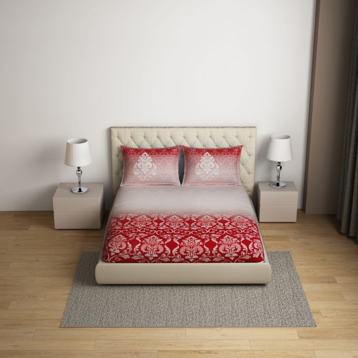 Spaces Intensity Red 1N Double Bed Sheet