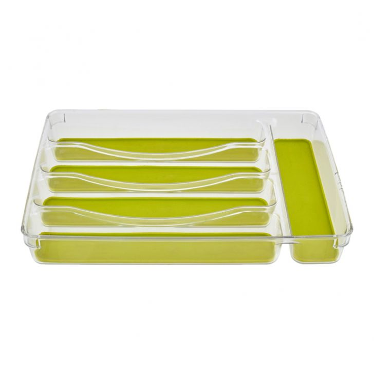 5 Section Organiser Plastic Kitchen Organizers in Transparent Colour by Living Essence
