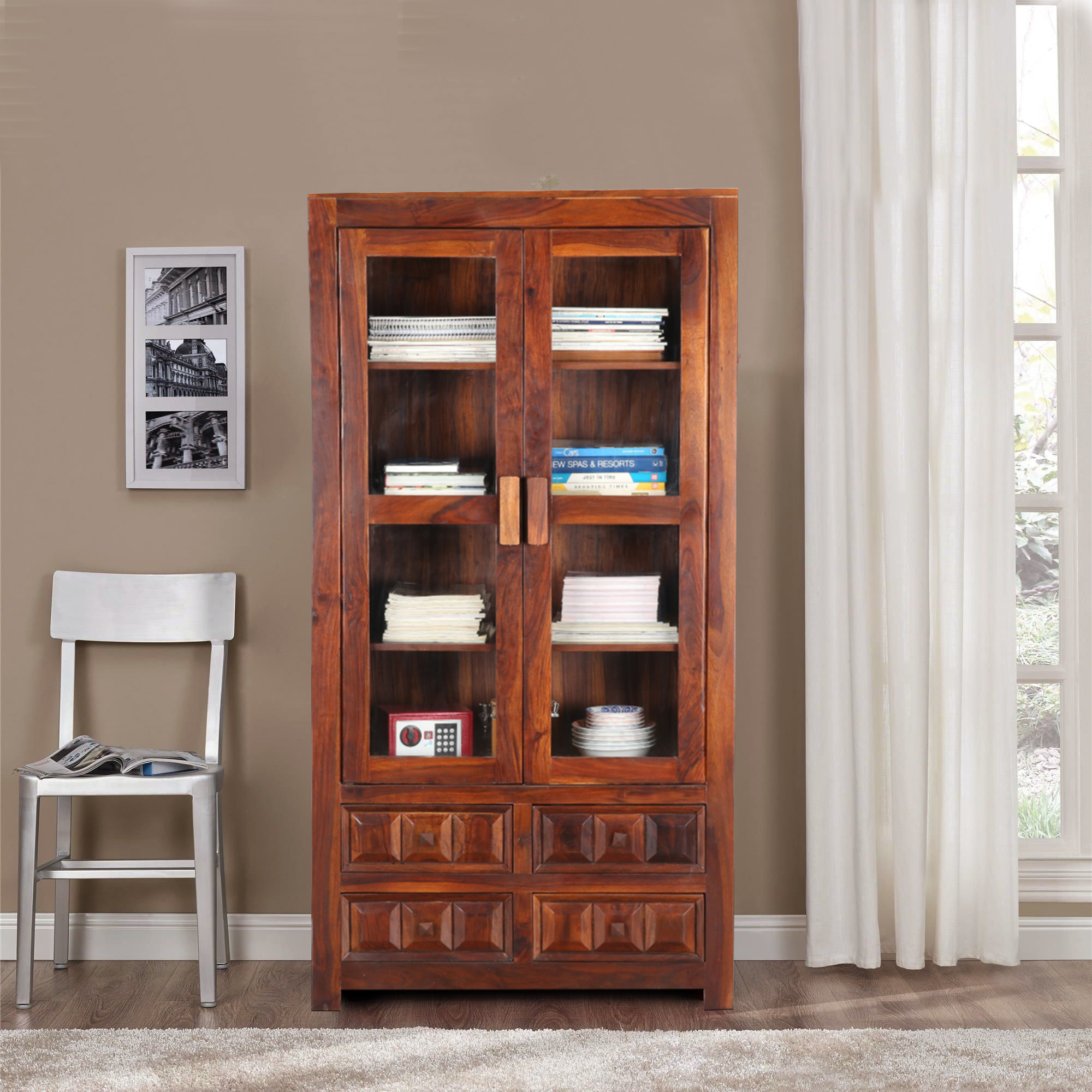 Woodrow Solid Wood Book Shelf in Nut Brown Colour by HomeTown