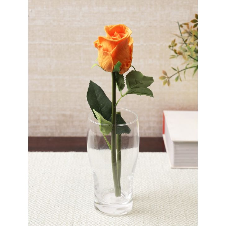 Elora Single Yellow Rose Polyester Artificial Flower 41cm in Yellow Colour