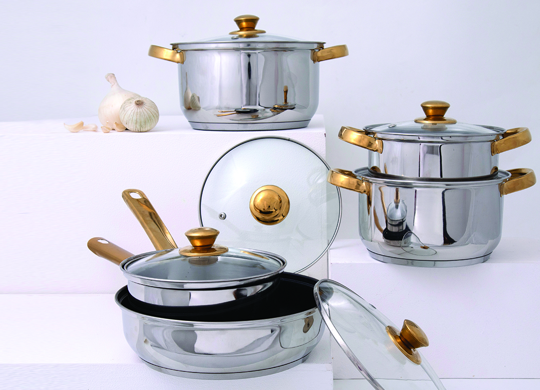LE 10 Pc Cookware Set With Gold Knob Stainless steel cookware sets in Silver & Gold Colour by Living Essence