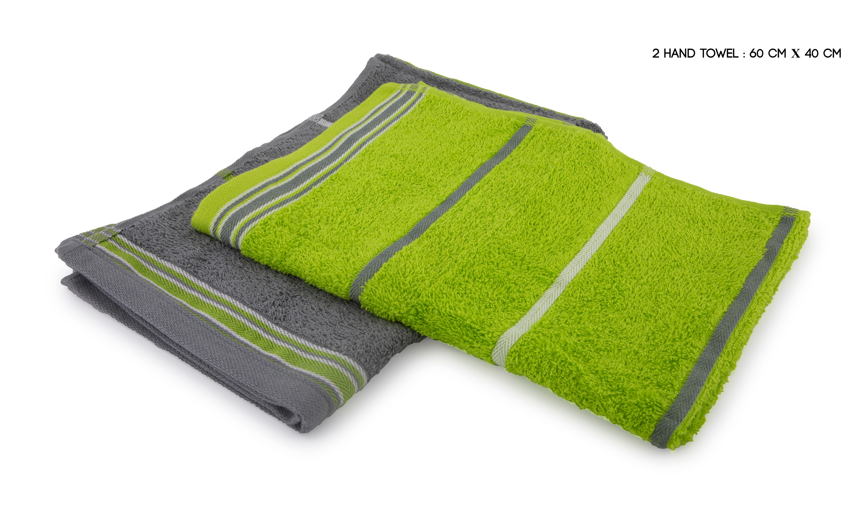 Emilia Handtowel Set Of 2 Cotton Hand Towels in Lime & Grey Colour by HomeTown