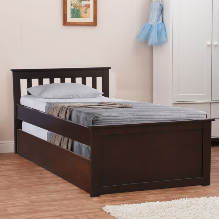 Hanna Solid Wood Drawer Storage Single Bed with Trundle in Walnut Colour by HomeTown