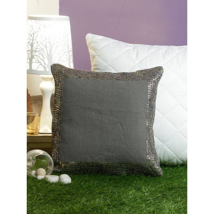 Modern  Cushion Cover 12X12 CM in Grey Colour by Living Essence