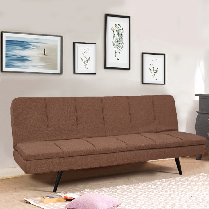 Arthur Fabric Sofa Cum Bed in Brown Colour by HomeTown