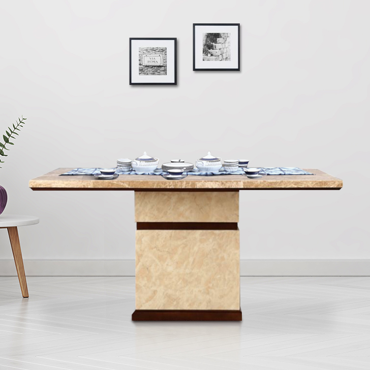 Athena Rubber Wood Marble Top Six Seater Dining Table in Beige Colour by HomeTown