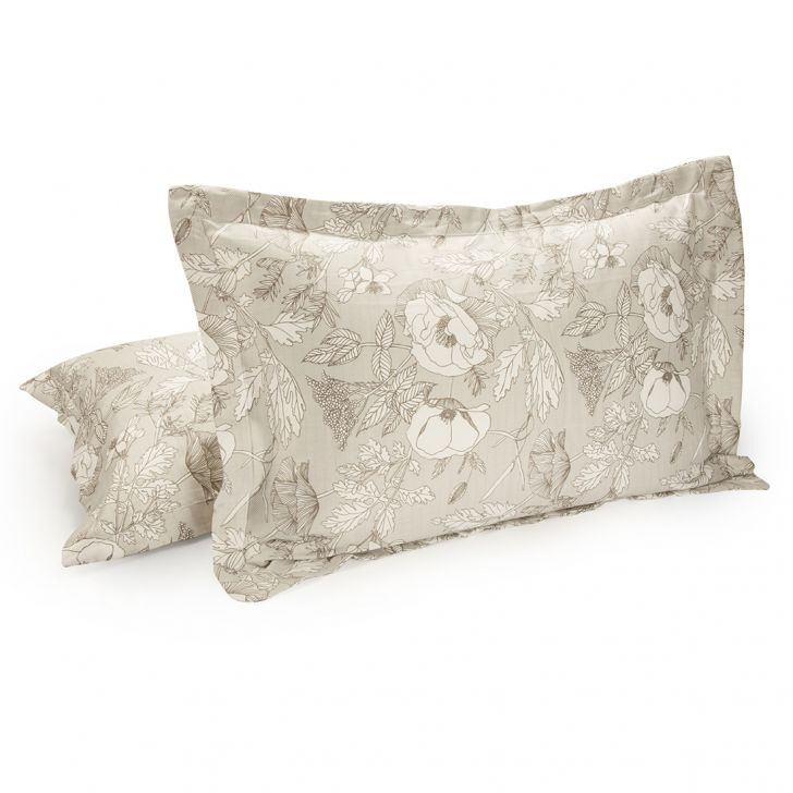 Set of 2 Pillow Cover Amour Foliage Grey Cotton Pillow Covers in Cotton Colour by Living Essence