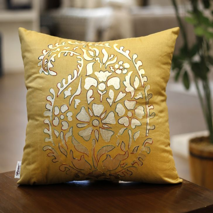 Embroidery  Cushion Cover 40X40 Cm In Multi Colour By Sivya