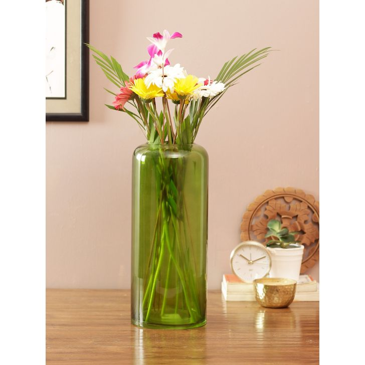 Eva Sleek Glass Tall Vase Green Glass Vases in Green Colour by Living Essence