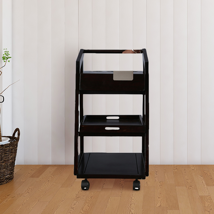 Jack Solid Wood Serving Trolley in Nut Brown Colour by HomeTown