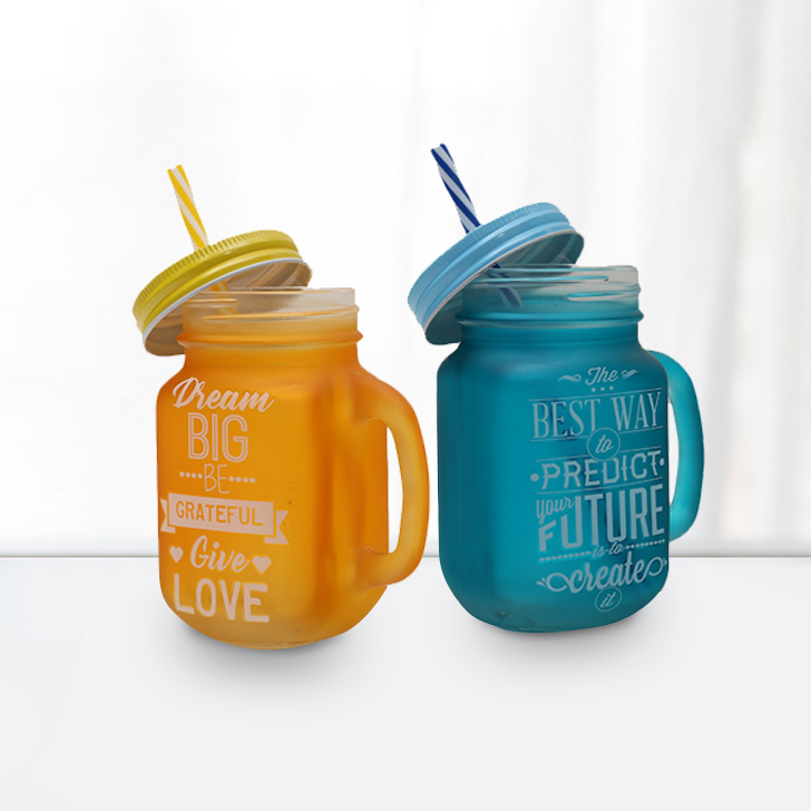 Quoted Mason Jars Set Of 2 Blue &Yellow Glass Mason Jars in Orange &Amp; Blue Colour by HomeTown