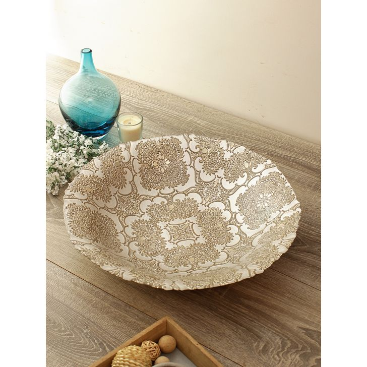 Jordan Carved Finish Glass Platter Glass Table D in Beige Gold Colour by Living Essence