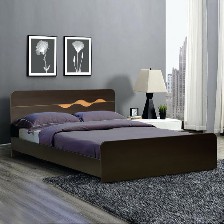 Swirl Engineered Wood Queen Size Bed in Denver Oak ,Urban Teak Colour by HomeTown
