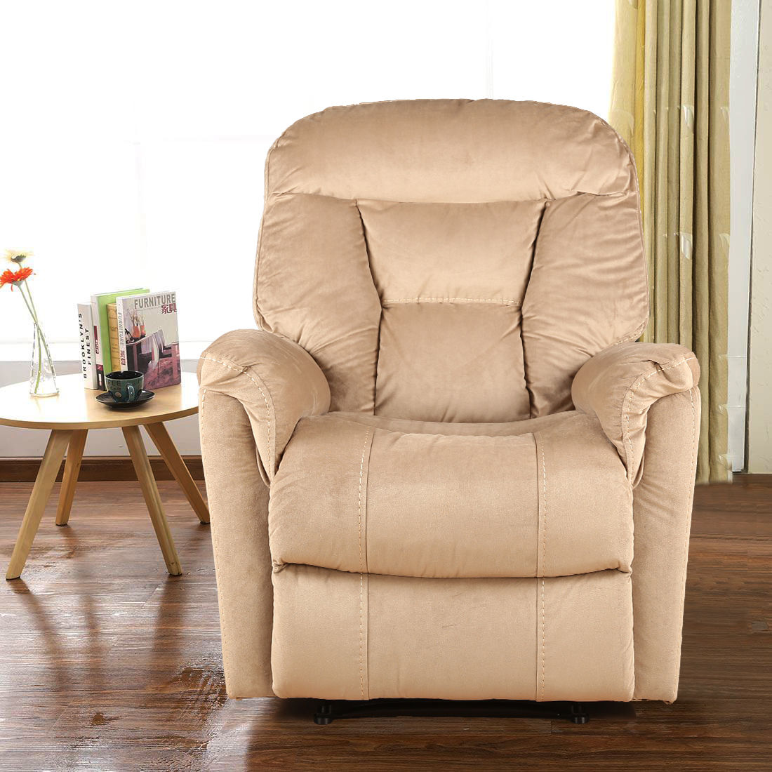 Rubens Fabric Single Seater Recliner in Beige Colour by HomeTown