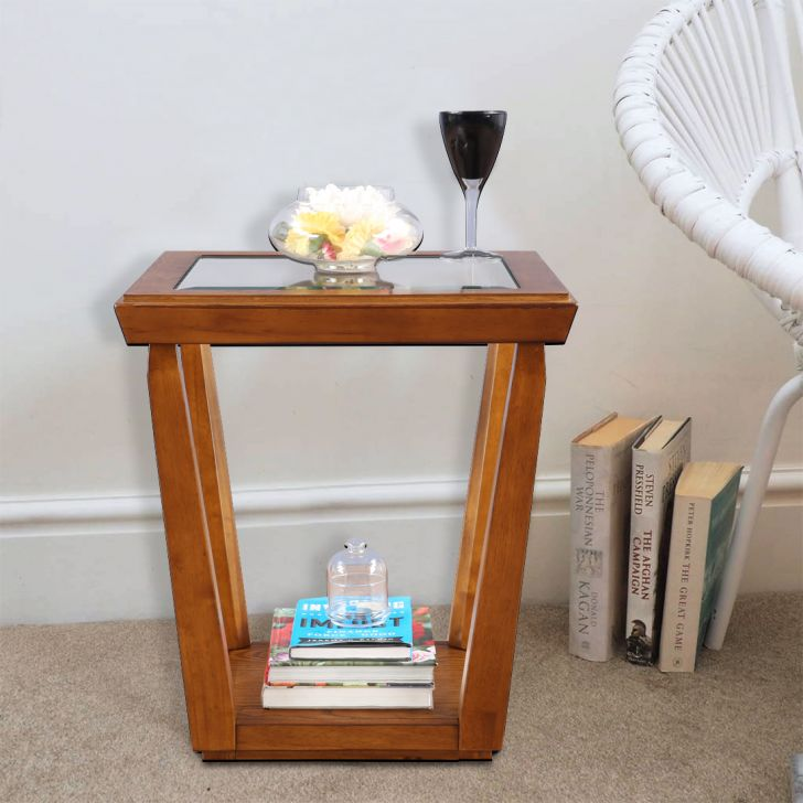 Herman Solid Wood Glass Top Side Table in Brown Color by HomeTown