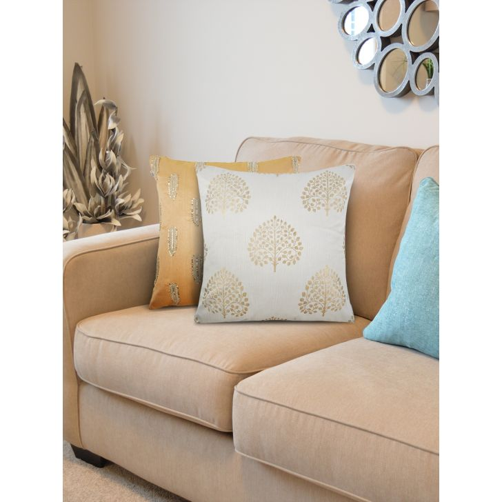 Set of 2 Polyester Cushion Covers in OffWhite Gold Colour by Living Essence