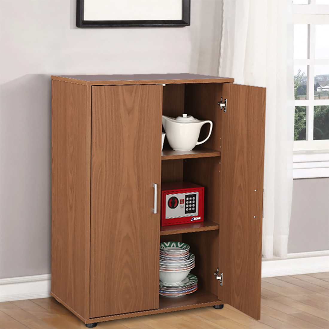 Henley Engineered Wood Multipurpose Cabinet in Walnut Colour by HomeTown