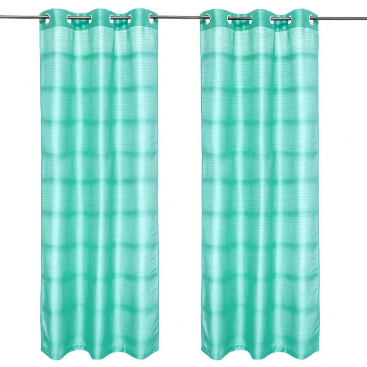 Fiesta Solid set of 2 Polyester Door Curtains in Turquoise Colour by Living Essence