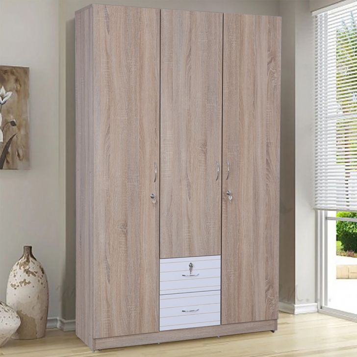 Molly Engineered Wood Three Door Wardrobe in Oak & White Colour by HomeTown