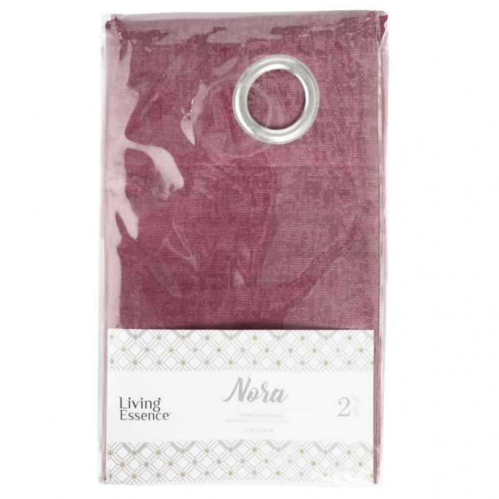 Nora Solid Polyester Window Curtains in Rose Colour by Living Essence