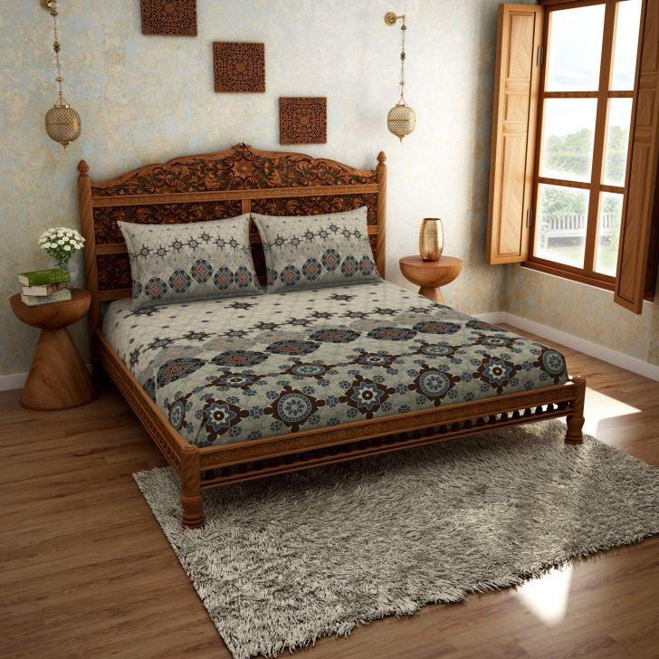 Spaces Rangana Grey 210 Tc Cotton Printed Large Bed Sheet With 2 Pillow Covers