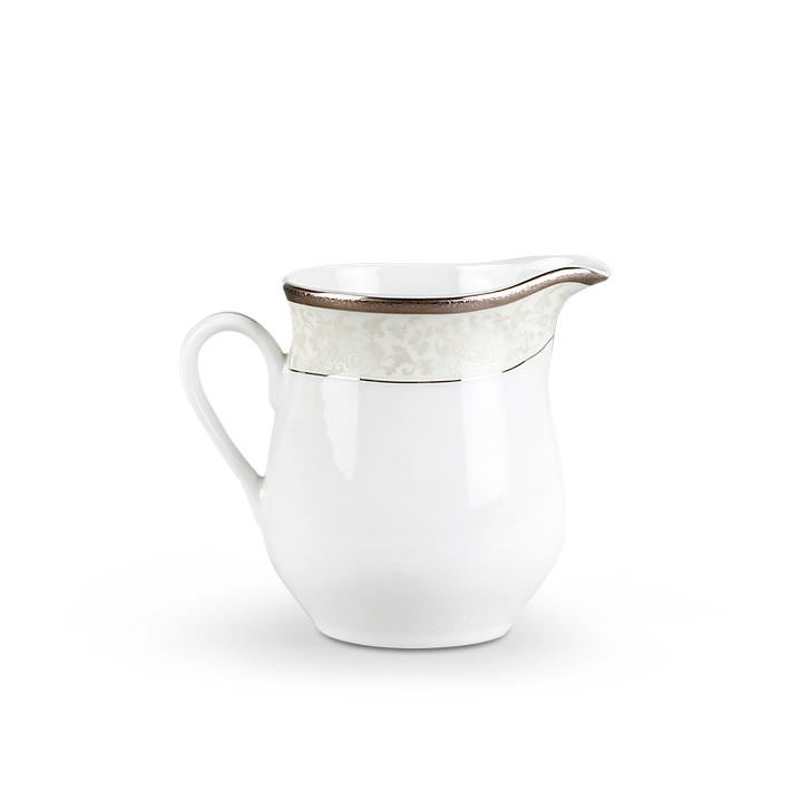 Milk Pot Silver Drop Porcelain Accessories in White And Gold Colour by Living Essence