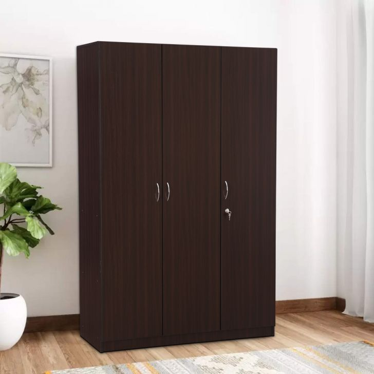 Zina Engineered Wood Three Door Wardrobe in Walnut Colour by HomeTown