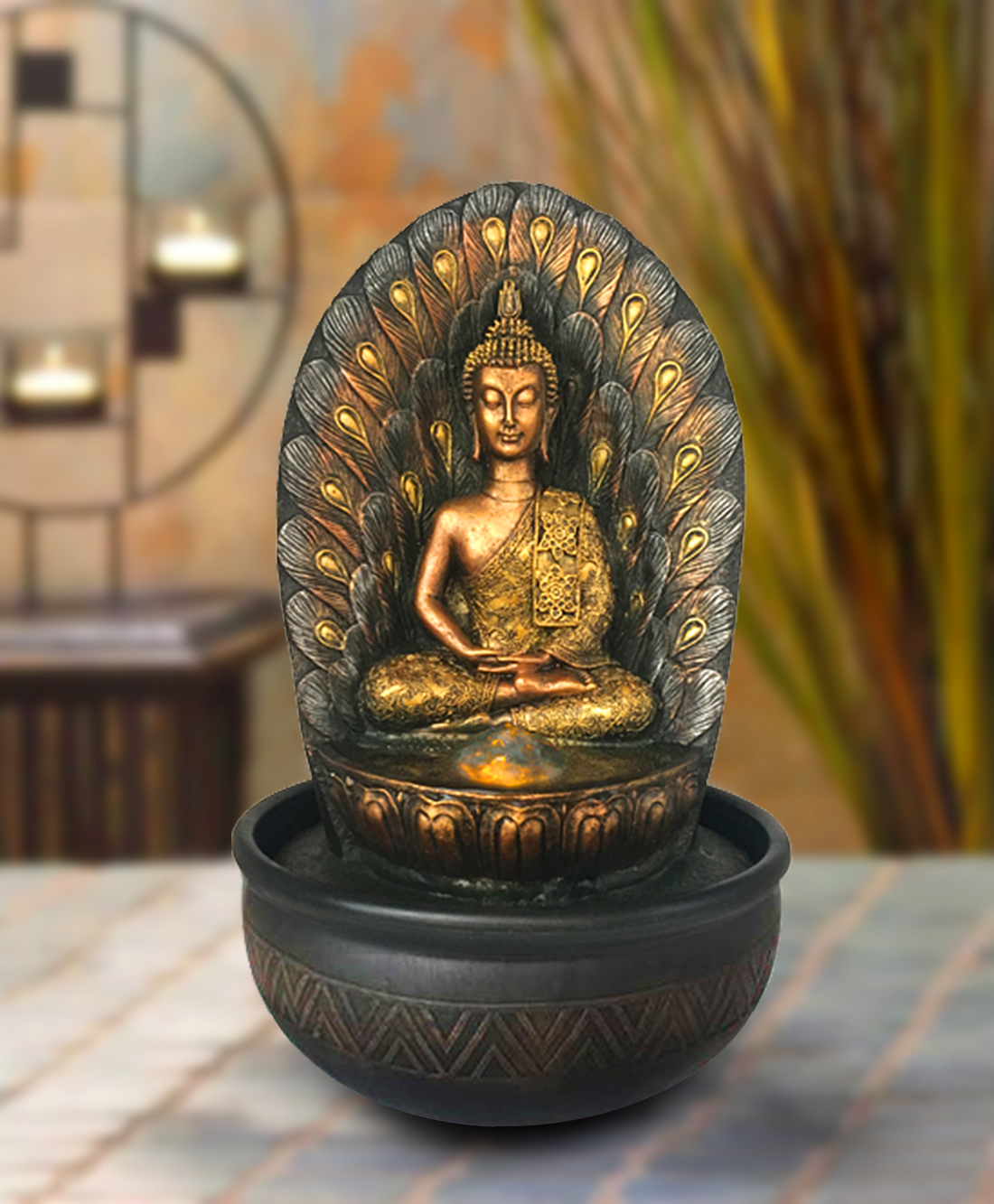 Hometown Polyresin And Plastic Buddha Water Fountain Polyresin Small Fountains in Gold And Brown Colour by HomeTown
