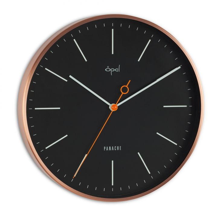 Opal Black Wall Clock With Shiny Copper Frame