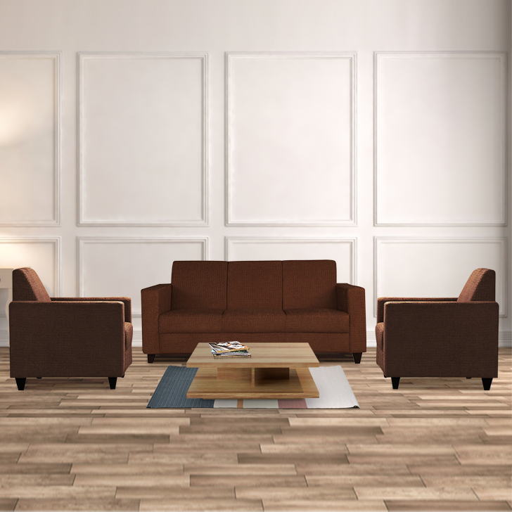 Xavier Fabric Sofa Set in Dark Brown Colour by HomeTown